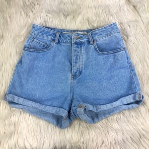 Brandy Melville Cuffed High Waisted Denim Shorts